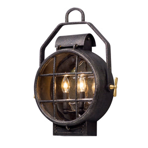Point Lookout 2 Light Outdoor Pendant By Troy B5032 in Aged Silver W Pol Brass Accent Finish
