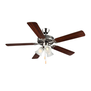 "Homebuilder IIi 52"" Brushed Steel Indoor Ceiling Fan by Monte Carlo Fans BF3-BS"