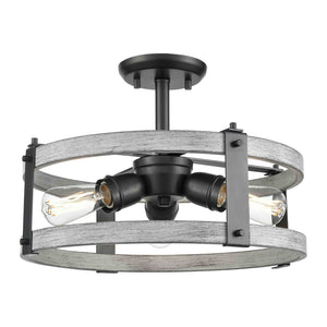 Oakhurst 3 Light Semi-Flush Mount in Graphite and Birchwood On Metal by DVI Lighting DVP40312GR+BIW