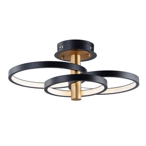 ET2 E24323-BKGLD Hoopla LED Semi Flush Mount in Black / Gold