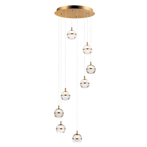 ET2 E24598-93NAB Swank LED 8-Light Pendant in Natural Aged Brass