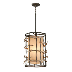 Adirondack 3 Light Pendant By Troy F2883 in Graphite And Silver Leaf Finish