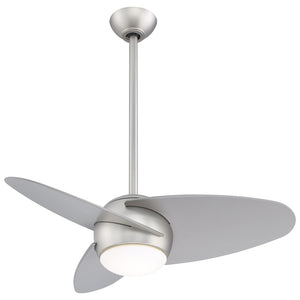 "Slant 36"" LED Ceiling Fan In Brushed Steel by Minka Aire F410L-BS"