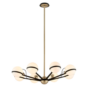 Ace 8 Light Chandelier By Troy F5304 in Textured Bronze Brushed Brass Finish