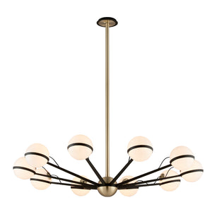 Ace 10 Light Chandelier By Troy F5306 in Textured Bronze Brushed Brass Finish