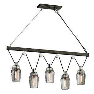 Citizen 5 Light Island Light By Troy F5995 in Graphite And Polished Nickel Finish