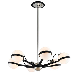 Ace 6 Light Chandelier By Troy F7163 in Carb Blk W Pol Nickel Accents Finish