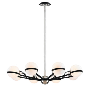 Ace 8 Light Chandelier By Troy F7164 in Carb Blk W Pol Nickel Accents Finish