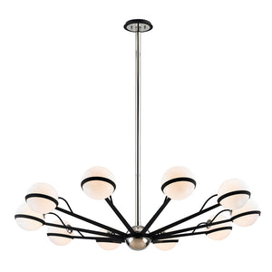 Ace 10 Light Chandelier By Troy F7166 in Carb Blk W Pol Nickel Accents Finish
