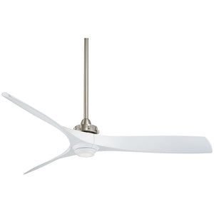 "Aviation 60"" LED Ceiling Fan In Brushed Nickel/White by Minka Aire F853L-BN/WH"