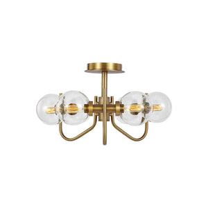 Verne 6 Light Semi-Flush Mount in Burnished Brass / Burnished Brass Finish by Ellen DeGeneres EF1036BBS