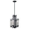 Feiss Ethan 4 Light Mini Chandelier in Antique Forged Iron / Brushed Steel Finish F2627/4AF/BS