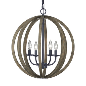 Feiss Allier 4 Light Pendant in Weathered Oak Wood / Antique Forged Iron Finish F2935/4WOW/AF