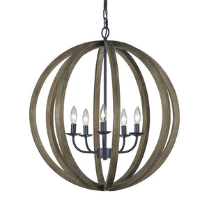 Feiss Allier 5 Light Large Pendant in Weathered Oak Wood / Antique Forged Iron Finish F2936/5WOW/AF
