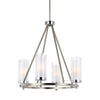 Feiss Jonah 4 Light Chandelier in Satin Nickel / Chrome Finish F2984/4SN/CH