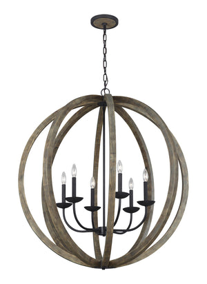 Feiss Allier 6 Light Large Pendant in Weathered Oak Wood / Antique Forged Iron Finish F3186/6WOW/AF