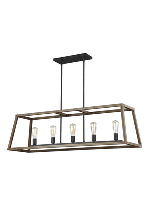 Feiss Gannet 5 Light Island in Weathered Oak Wood / Antique Forged Iron Finish F3193/5WOW/AF