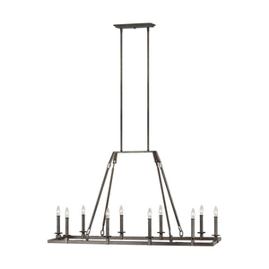 Feiss Landen 10 Light Island in Smith Steel Finish F3218/10SMS