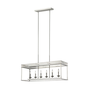 Feiss Woodruff 6 Light Island in Polished Nickel Finish F3278/6PN