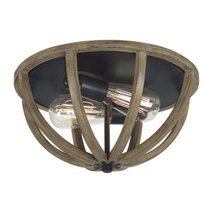 Feiss Allier 2 Light Ceiling Flush Mount in Weathered Oak Wood / Antique Forged Iron Finish FM400WOW/AF