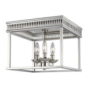 Feiss Woodruff 3 Light Ceiling Flush Mount in Polished Nickel Finish FM521PN