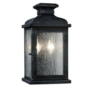 Feiss Pediment 2 Light Outdoor Wall Sconce in Dark Weathered Zinc Finish OL11100DWZ
