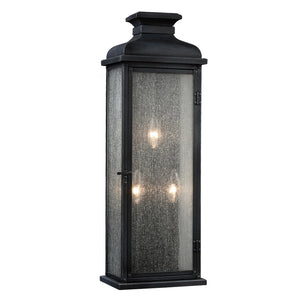 Feiss Pediment 3 Light Outdoor Wall Sconce in Dark Weathered Zinc Finish OL11104DWZ