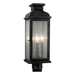Feiss Pediment 3 Light Outdoor Post Lantern in Dark Weathered Zinc Finish OL11107DWZ