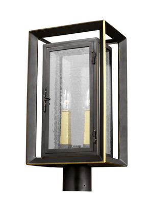Feiss Urbandale 2 Light Outdoor Post Lantern in Antique Bronze / Painted Burnished Brass Finish OL13807ANBZ/PBB