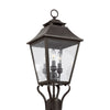 Feiss Galena 3 Light Outdoor Post Lantern in Sable Finish OL14406SBL