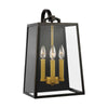 Feiss Lindbergh 3 Light Outdoor Wall Sconce in Antique Bronze / Painted Burnished Brass Finish OL14503ANBZ/PBB