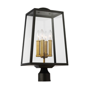 Feiss Lindbergh 4 Light Outdoor Post Lantern in Antique Bronze / Painted Burnished Brass Finish OL14504ANBZ/PBB