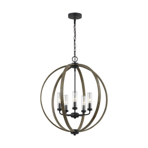 Feiss Allier 5 Light Chandelier in Weathered Oak Wood / Antique Forged Iron Finish OLF3294/5WOW/AF