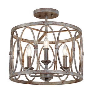 Feiss Patrice 3 Light Semi Flush Mount in Deep Abyss Finish SF346DA