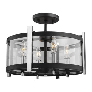 Feiss Broderick 4 Light Semi Flush Mount in Textured Black / Chrome Finish SF347TXB/CH