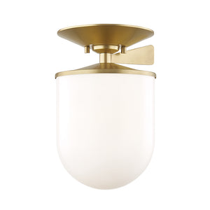 Audrey 1 Light Semi Flush By Mitzi H214601L-AGB in Aged Brass Finish