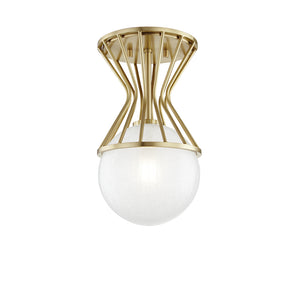 Petra 1 Light Semi Flush By Mitzi H267601-AGB in Aged Brass Finish