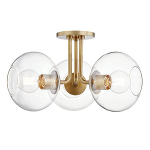Margot 3 Light Semi Flush By Mitzi H270603-AGB in Aged Brass Finish