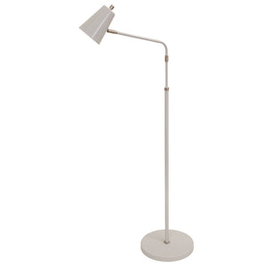 Kirby LED adjustable floor lamp in gray with satin nickel accents