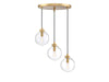 Manhattan 3 Light Natural Brass Pendant by Aria Home Lighting
