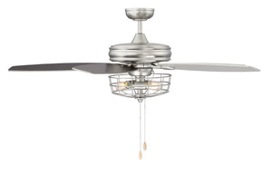 Jaxson 3 Light Brushed Nickel Ceiling Fan by Aria Home Lighting