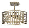 Elara 3 Light Antique Gold Semi Flush by Aria Home Lighting