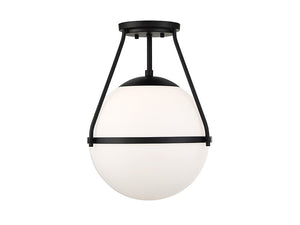 Elara 1 Light Matte Black Semi Flush by Aria Home Lighting