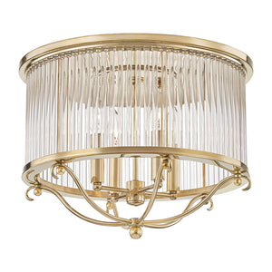 Glass No.1 4 Light Semi Flush By Hudson Valley MDS201-AGB in Aged Brass Finish