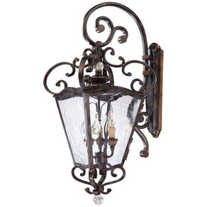Metropolitan Family Collection 3 Light Outdoor Lantern in Terraza Village Aged Patina W/ Gold Leaf Accents By Metropolitan N3247-270