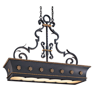 Montparnasse 12 Light Island Lighting in French Black W/ Gold Leaf Highlights By Metropolitan N6107-20
