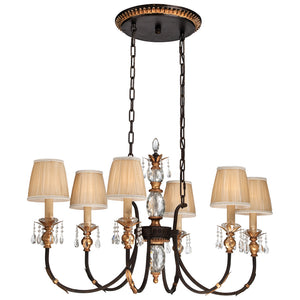 Bella Cristallo 6 Light Island Lighting in French Bronze W/ Gold Highlights By Metropolitan N6640-258B