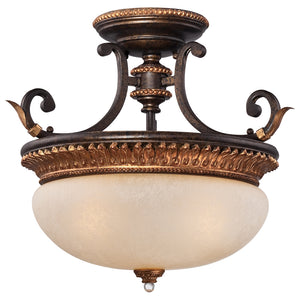 Bella Cristallo 3 Light Semi-Flush Mount in French Bronze W/ Gold Highlights By Metropolitan N6642-258B