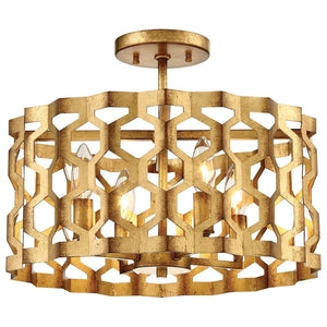 Coronade 4 Light Semi-Flush Mount in Pandora Gold Leaf By Metropolitan N6772-293