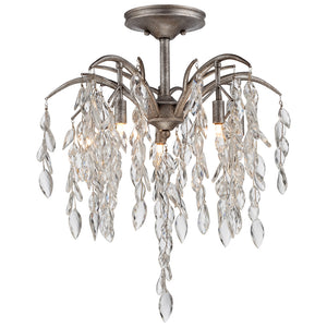 Bella Flora 5 Light Semi-Flush Mount in Silver Mist By Metropolitan N6865-278